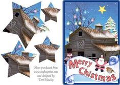 christmas barn on Craftsuprint - Add To Basket! Christmas Decoupage, Snowman, Christmas Cards, Card Making, Barn, Santa, Basket, Christmas E Cards, Converted Barn