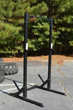 Half Rack with Pull-up Bar, Commercial Grade, Heavy-Duty, Squat Power Cage Price : Ends… Crossfit Garage Gym, Home Gym Garage, Homemade Gym Equipment, Home Gym Equipment, Fitness Equipment, Half Rack, Home Made Gym, At Home Gym, Diy Power Rack