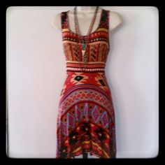 Casual  Aztec Print Dress W/ Asymmetrical Hem Cute dress with a fitted bodice and a circular asymmetrical hem. Really soft and comfortable! Great condition. Banana Lemon Dresses Asymmetrical