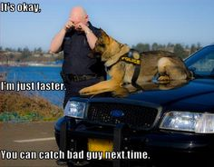 You can't outrun the K-9 (or keep up with them, apparently). Funny pic! Cops Humor, Police Humor, Police Dogs, Funny Police, Police Life, Pet Humor, Funny Dogs, Cute Dogs, Funny Animals