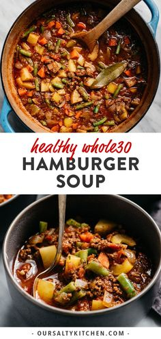 Hamburger soup is my dinner hero! Ground beef is simmered with colorful vegetables in a savory tomato broth, and ready in under an hour. This compliant soup recipe is easy to prepare, nutrient dense, and most importantly kid approved. Healthy Ground Beef, Soup With Ground Beef, Ground Beef Recipes For Dinner, Ground Hamburger Recipes, Whole30 Ground Beef Recipes, Ground Beef Meals, Hamburger Recipes For Dinner, Healthy Beef Recipes, Healthy Soup