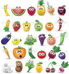 fruit cartoon: Cartoon vegetables and fruits Illustration Cartoon Images, Cartoon Drawings, Drawing For Kids, Art For Kids, Fruits And Vegetables, Cartoon Vegetables, Deco Fruit, Vegetable Cartoon, Vegetable Painting