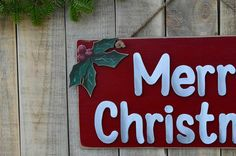 Merry Christmas wooden sign with hand painted mistltoe  An entirely handmade wooden christmas sign is here to complete your Christmas decoration. You can hange it in your living room or your bedroom or you can give it as a gift to a friend or a family member.  If you want this year to decorate your home with something unique, thats your chance. This handmade wooden sign is an OOAK product that you wont find anywhere else. ❂ P R O D U C T I O N P R O C E S S ❂  The thing that makes these…