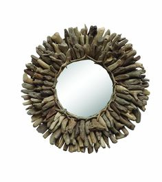 Driftwood Sun Mirror - Nautical Home Collection - Dot Bo Round Mirrors, Wall Mirrors, Bathroom Mirrors, Wood Animals, Driftwood Frame, Driftwood Wreath, Driftwood Ideas, Driftwood Projects, Crafts