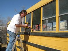 documenting the conversion of a yellow school bus into alternative housing, selling homemade mohair for knitting or crocheting, Gonzalez, Texas