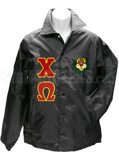 CHI OMEGA LINE JACKET WITH GREEK LETTERS AND CREST, BLACK  Item Id: PRE-XJ-CW-LTR-CREST-BLK    Price: $79.00