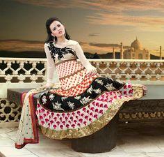 $131.76 Brown Full Sleeve Faux Georgette Long Anarkali Salwar Kameez 21725