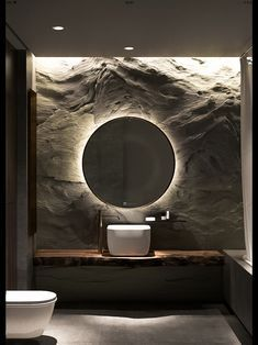 Textured wall with backlit mirror. Textured wall with backlit mirror. Modern Bathroom Design, Bathroom Interior Design, Modern Interior Design, Contemporary Interior, Design Bedroom, Stone Interior, Interior Livingroom, Bathroom Designs, Interior Lighting Design