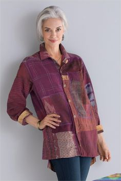 May 2020 - Pieced Shirt Jacket by Mieko Mintz - Deep Violet, L (Woven Shirt) High Fashion Outfits, Altered Couture, Shirt Refashion, Korean Street Fashion, Sewing Clothes, Shirt Jacket, Clothing Patterns, Creations, Vibrant Colors