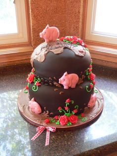 pig cake-how cute! Make the flowers yellow Pretty Cakes, Cute Cakes, Beautiful Cakes, Amazing Cakes, Pig Cookies, Cupcake Cookies, Piggy Cake, Extreme Cakes, Pig Stuff