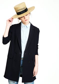 d7196eb6926 Le Ciel Bleu Tuxedo Jacket and ruffle sleeve shirt with The Tanager straw  hat by Gladys Tamez Millinery