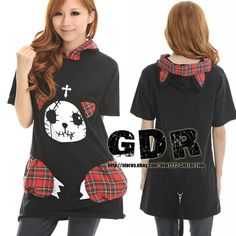 CAT HOODIE DOLLY Gothic Lolita kera 301052 Punk Cosplay Shirt TOP + TAIL