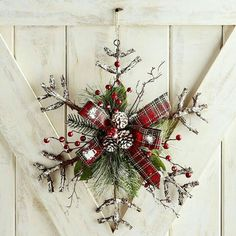 Rattan Snowflake Door Decor & Wreath- it has the plaids I love and pine. Cute holiday decoration for my barn home. Elegant Christmas, Rustic Christmas, Winter Christmas, Christmas Holidays, Christmas Wreaths, Christmas Decorations, Christmas Ornaments, Winter Wreaths, Christmas History