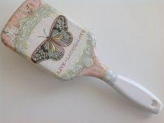 Farfalla, spazzola per capelli presenti, decoupaged compleanno, regalo per lei, regali per ragazza, speciale regalo, regalo unico. Accessori donna,