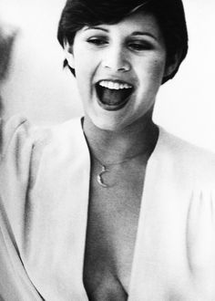 carrie fisher mouth and shirt open by Graham Ellen,famous, celebrity in film, fashion, art, music,beautiful fame, the wall of fame, collected by marald marijnissen, www.marijnissenfotografie.nl
