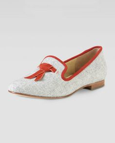 Sabrina Tassel Suede-Trim Flannel Loafer, Light Gray by Cole Haan at Neiman Marcus.