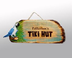 Pyrography Tiki Bar & Pool Signs  Custom by RozEmazingDesigns