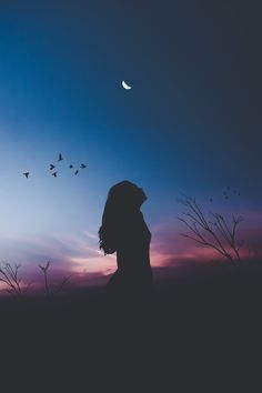 Woman Standing on Field Silhouette Photography · Free Stock Photo Galaxy Wallpaper, Wallpaper Backgrounds, Iphone Wallpaper, Photography Poses, Amazing Photography, Moonlight Photography, Silhouette Fotografie, Shadow Photos, Silhouette Photography