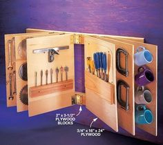 Flip-through tool storage.More Amazing #Woodworking Projects, Tips & Techniques at ►►► www.woodworkerz.com