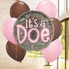 A new baby girl is on the way! Celebrate the new little girl with a pink camo themed baby shower, and feature these adorable It's a Doe balloons.