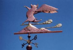 When Pigs Can Fly, Pig Weather Vane by West Coast Weather Vanes.  This whimsical flying pig weathervane comes with optional gold leafed eyelashes, eyebrows, snout and hooves. The snow capped mountain tops are also gold leafed. The clouds are brass and the remainder of the sculpture piece is done in copper.