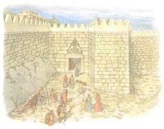 The principle entranceway to the Mycenaean Fortress Citadel of Mycenae – The Lion Gate! From Mycenaean Citadels c. BC, by Nick Fields Illustrated by Donato Spedaliere, Fortress Series, Osprey Publishing. Mycenaean, Minoan, City Of Troy, Sea Peoples, Osprey Publishing, Trojan War, Creta, Ancient Architecture, Bronze Age