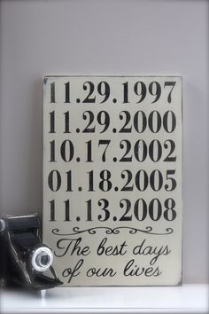 Personalized Important Dates Sign, Anniversary Date, Birth Dates, Family Sign, Wood Wall Art, Wood Sign, Vintage Sign, Typography. $47.00, via Etsy. Would love to make one myself though.