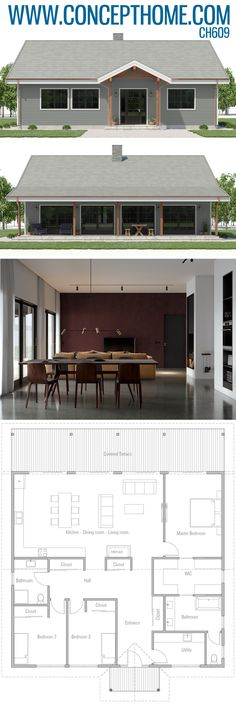 Small House Plan, Home Plan, Floor Plan Cheap House Plans, Barn House Plans, Family House Plans, Ranch House Plans, Modern House Plans, Small House Plans, Steel Building Homes, Building A House, Unique Floor Plans
