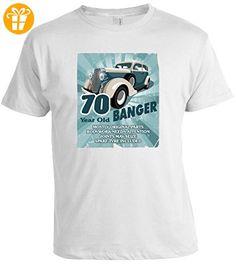 """Lustig 70 jahr old Banger Retro Stil 70th Geburtstag Anlass Jahrestagsgeschenk t-shirt t-shirt top - Herren, Weiß, Medium / 38""""-40"""" (*Partner-Link)"""