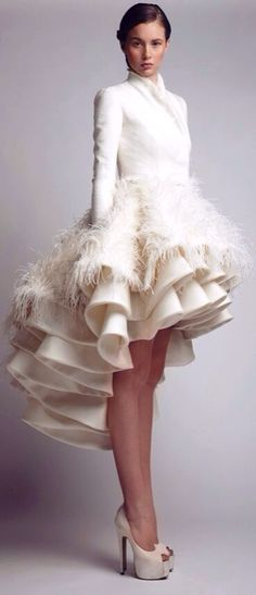 Not a fan of the feathers, but the idea of a multi-teared ruffled asymmetrical skirt is cool.