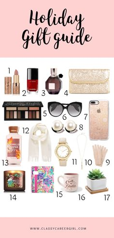 The Holiday Gift Guide For Her  It's that time of year again and there's always a reason to give a holiday gift, right? Whether it's your best friend, sister, mentor or co-worker, here's a list of ideas to help you out just in time for the holidays!  Read more: http://www.classycareergirl.com/2016/11/holiday-gift-guide-women/