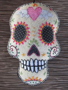 Felt Day of the Dead Embroidered Pink Heart with Wings Sugar Skull