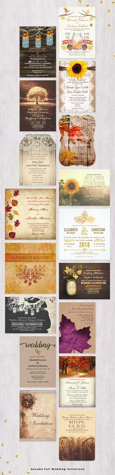 Autumn Fall Wedding Invitations.  Easy to edit templates.  #fallwedding