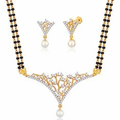 Viyari Taj Cubic Zirconia Simulated Pearl Love Holy Thread Indian Mangalsutra 16 Inch Goldtone Necklace Earrings Jewelry Set -- Read more reviews of the product by visiting the link on the image.