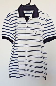 Nautica Mens Slim Fit Navy and White Striped Short Sleeve Polo Shirt Size Medium | Clothing, Shoes & Accessories, Men's Clothing, Casual Shirts | eBay!