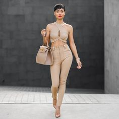 all nude outfit with nude heels - you better werk!