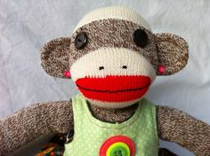 """""""Peace Nikki""""  Girl Sock Monkey with Peace Signs by StudioLitha on Etsy, $35.00"""