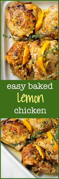 YUM definitely making this again- Easy Baked Lemon Chicken. Succulent juicy chicken, baked in the oven. Easiest recipe ever! Easy Baked Lemon Chicken Recipe, Easy Chicken Recipes, Chicken Meals, Cola Chicken, Pepper Chicken, Greek Chicken, Canned Chicken, Crispy Chicken, Boneless Chicken