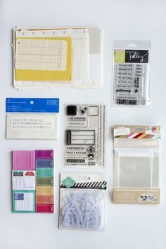 Supplies for putting together a 6x8 travel album.