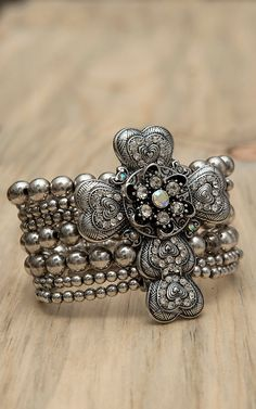 M Products Silver Heart Cross Stretch Bracelet