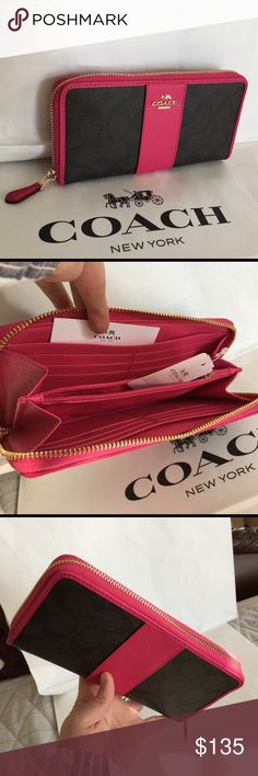 Coach Wallet 100% Authentic Coach Wallet, brand new with tag!color Brown/Pink Ruby. Coach Bags Wallets