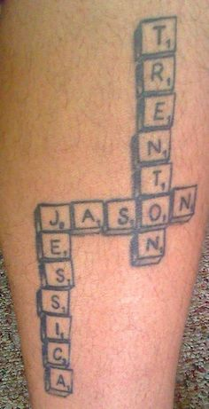 tattoos with 4 kids names | Children's names scrabble style tattoo.