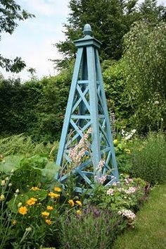 Obelisk/Tuteur~like this design and color Garden Trellis, Clematis, Obelisk Trellis, Garden Structures, Cottage Garden, Garden Architecture, Garden Features, Wooden Garden, Clematis Trellis
