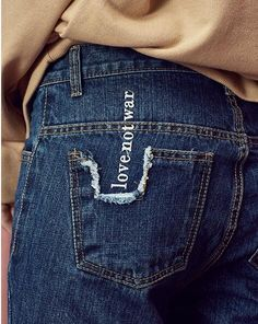 Words on jeans.