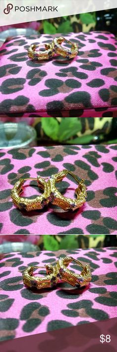 """Brand new! 18k Gold Filled Hoop Earrings Stunning brand new in pkg. 18k Gold Filled and gunmetal details bamboo style hoop earrings.  Super high quality.  About .66"""" diameter. *Top rated seller, smoke and pet free, top 10% seller, fast shipping, nice packaging, multiple item Discount. Jewelry Earrings"""