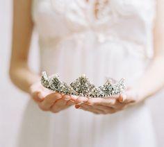 Bridal crown jeweled rhinestone wedding tiara - Eglantine Style no. 1980