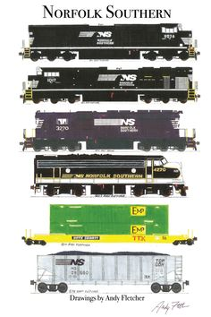 6 hand draw Norfolk Southern drawings by Andy Fletcher