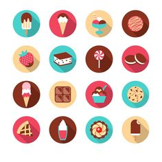 16 models desserts icons - vector graphics