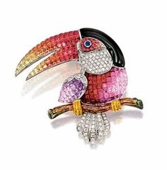 Gem-set and Diamond Toucan Brooch