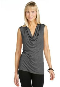 Cato Fashions Leather Look Shoulder Drape-Neck Top #CatoFashions - I like the style, but a fresher color